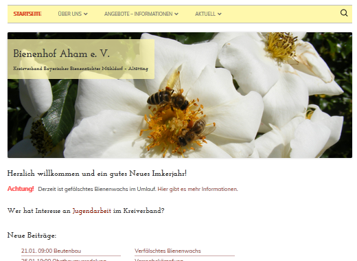 Screenshot Webseite Bienenhof Aham