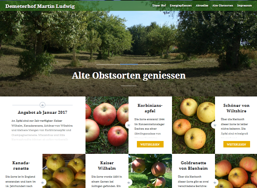 Screenshot Webseite alte Obstsorten geniessen